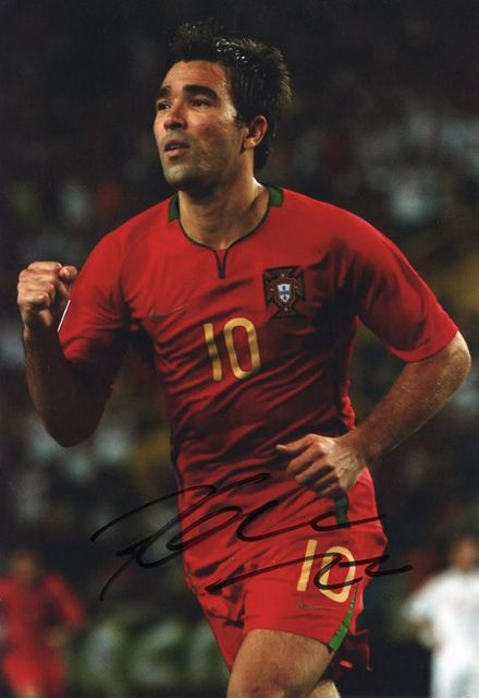 Deco, Portugal, Barcelona, Porto, Chelsea, signed 12x8 inch photo.